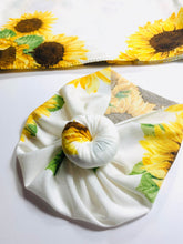 Load image into Gallery viewer, Sunflowers Newborn Swaddle Set|Swaddle+Headwrap Set|Floral Swaddle|Newborn Baby Gifts|Baby Shower Gift|Baby First Outfit|Hospital Outfit