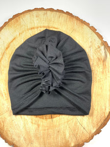 Black Ruffle Headwrap|Baby Turban|Adult Turban|Top Knot Turban|Top Knot Baby Hat|Kids Turbans|Toddler Turban|NewbornTurban|Chemo Hat