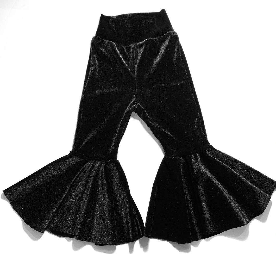 Onyx Velvet Flare Pants|Kids Bell Bottoms|Newborn Flare Pants|Bell Bottoms|Hippie Flare Pants|Wide Leg Pants| Baby Bell Bottoms|Boho
