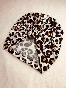 Ivory Leopard Doughnut or Bow Headwrap SO SOFT|Baby Turban|Adult Turban|Adult Headwrap|Child Headwrap|Kids Top Knot|Newborn Hat|Chemo Cap