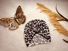 Load image into Gallery viewer, Ivory Leopard Doughnut or Bow Headwrap SO SOFT|Baby Turban|Adult Turban|Adult Headwrap|Child Headwrap|Kids Top Knot|Newborn Hat|Chemo Cap