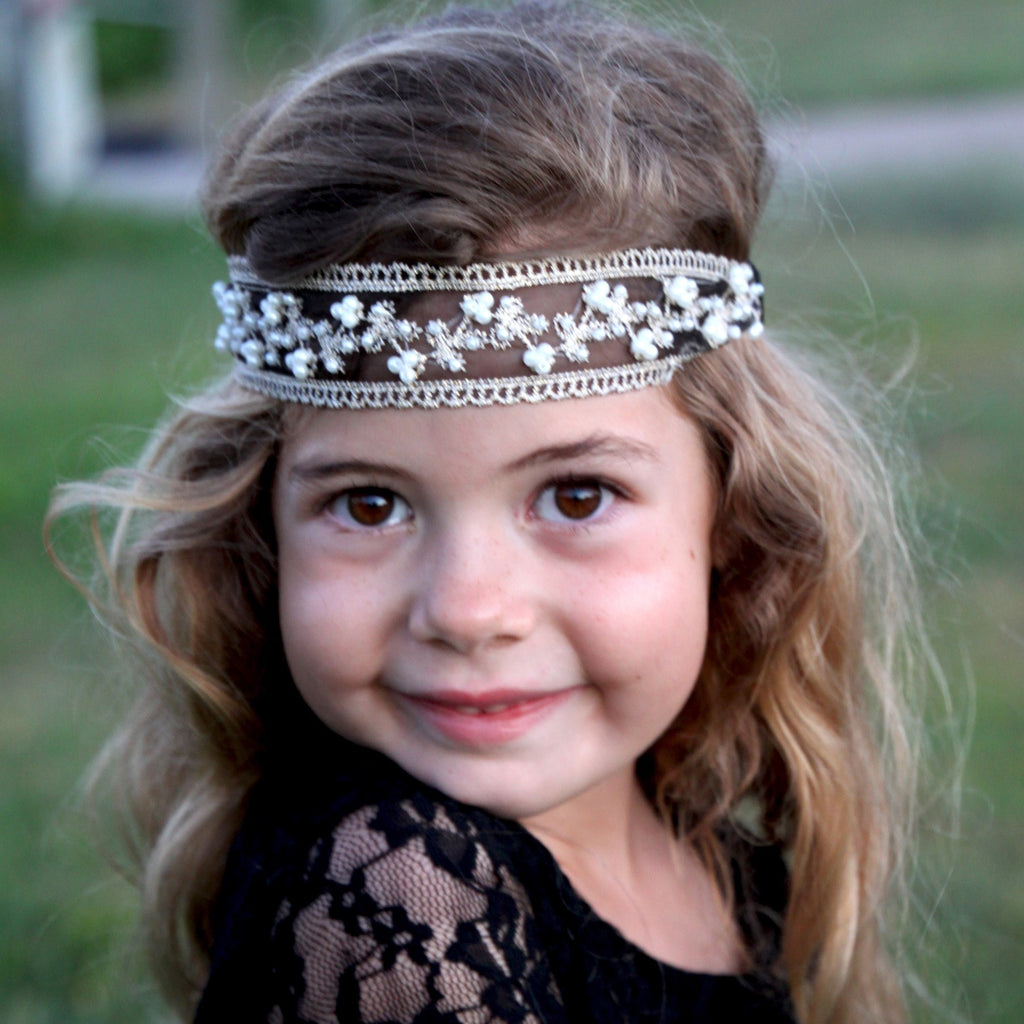 Ivory Black Pearl & Lace Headbands