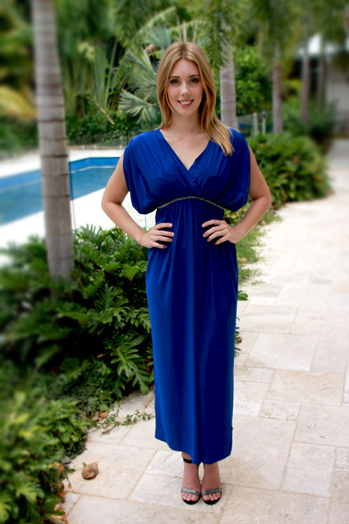 Juliette Electric Blue Maternity Maxi Dress - Goosebumps Clothing