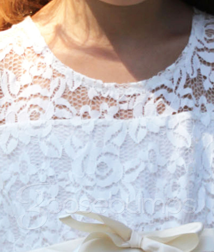 Rosey Lace Dress VINTAGE WHITE - Goosebumps Clothing