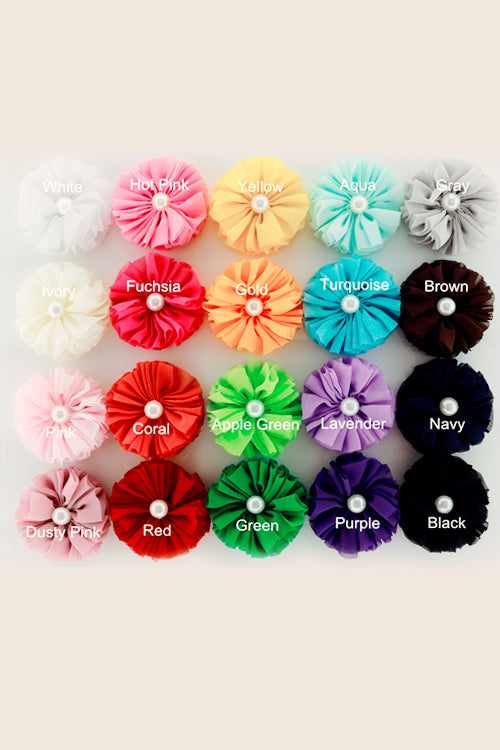 Chiffon Flower Single Pearl Hair Clips - Goosebumps Clothing