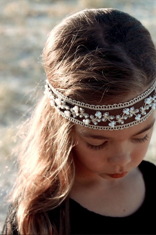Ivory Black Pearl & Lace Headbands - Goosebumps Clothing