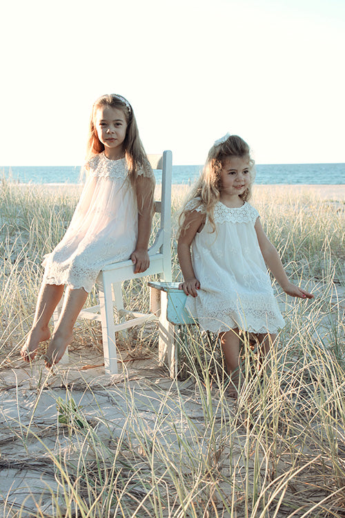 Macy Girls Lace Dresses VINTAGE WHITE - Goosebumps Clothing