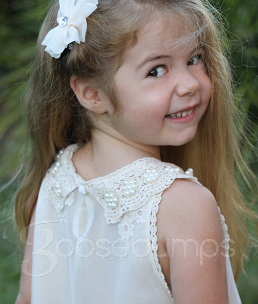 Pearl and Lace Girls Dress IVORY - Goosebumps Clothing