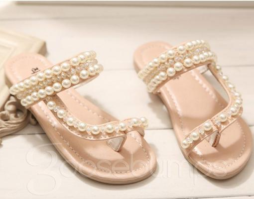 Pearl Sandals/Thongs (Pink or White) - Goosebumps Clothing