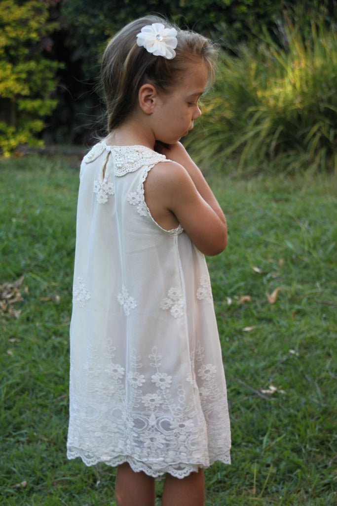 Pearl and Lace Girls Dress VINTAGE WHITE - Goosebumps Clothing