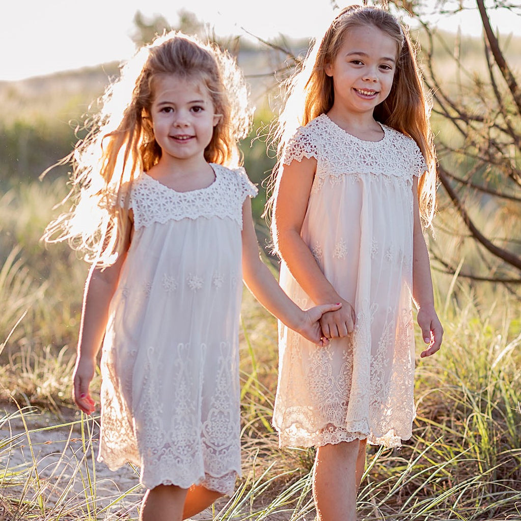 Macy Girls Lace Dresses BEIGE