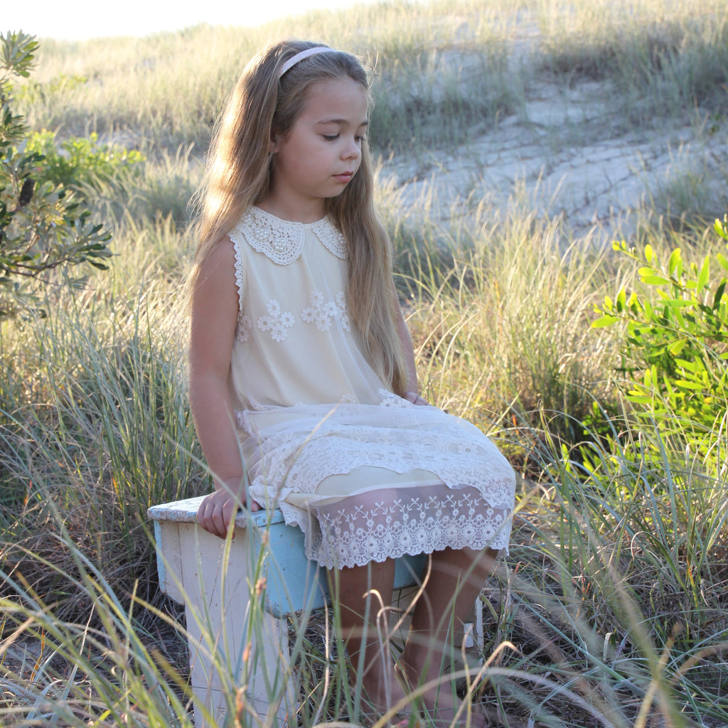 Pearl and Lace Girls Dress IVORY