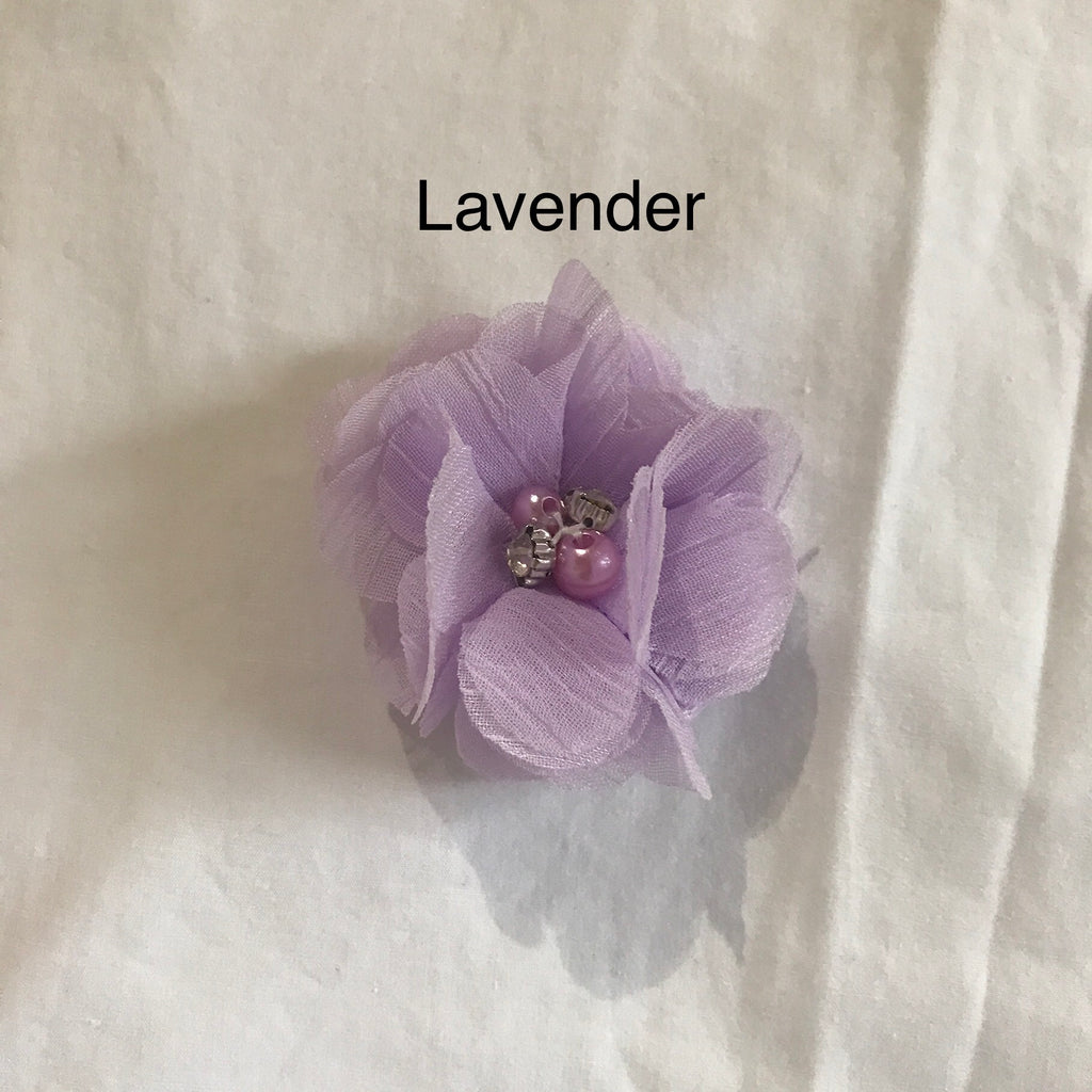 Chiffon Flower Sequin Hair Clips