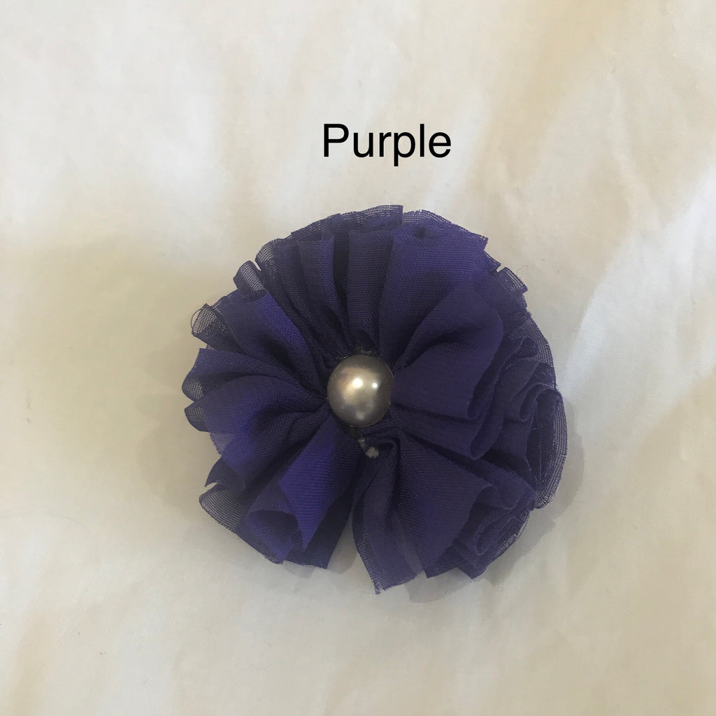 Chiffon Flower Single Pearl Hair Clips