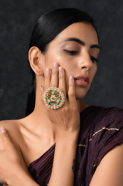 Pakshi Green Gold Plated Polki Ring