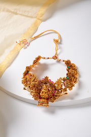 Yukti Multicoloured Gold Tone Temple Work Necklace with Jhumkis