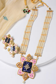 Varsha Pink Gold Tone Handpainted Pendant Necklace Set