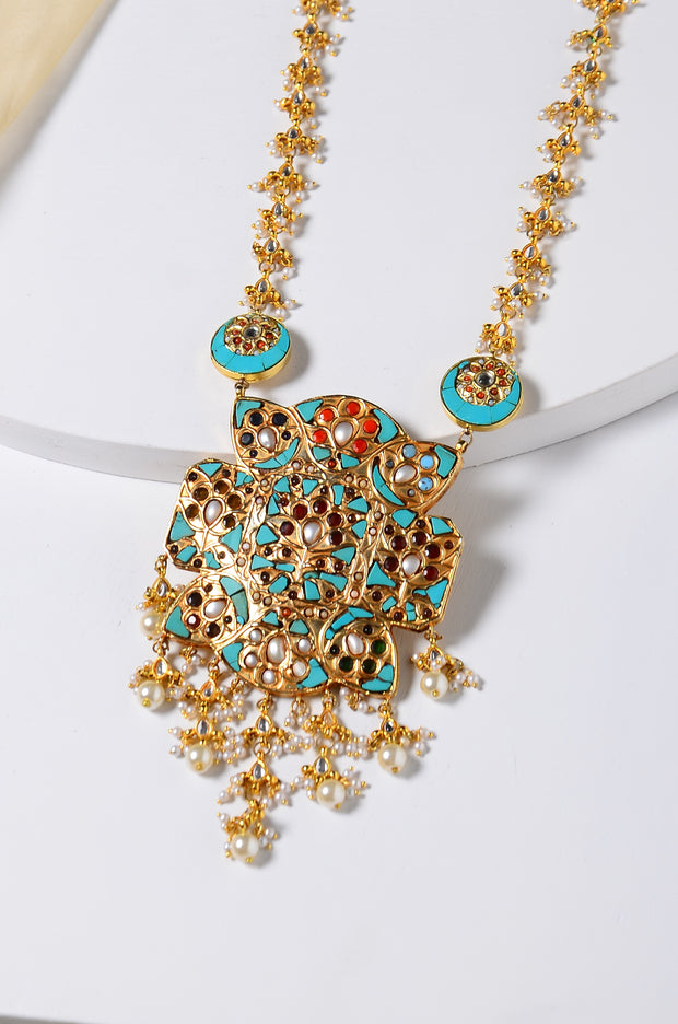 Amba Gold Tone Turquoise Jadau Necklace