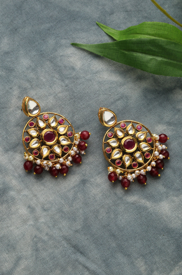 Ridhima Gold Tone Kundan Earrings With Pink Stones