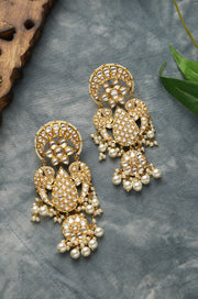 Hidayat Gold Tone Pearl and Polki And Chandbali Earrings