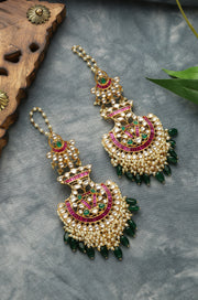 Ridhi Gold Tone Kundan With Pink And Green Stone Earrings