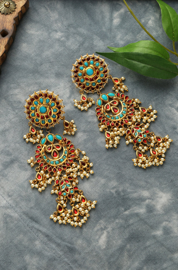 Harhiya Red Turquoise Gold Tone Kundan Inspired Chaandbali Earrings