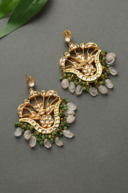 Aanya Pink Green Gold Tone Kundan Earrings