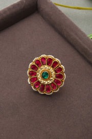 Pihu Red Polki and Pearls Ring