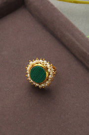 Kaivalya Green Marble and Pearl Cluster Ring