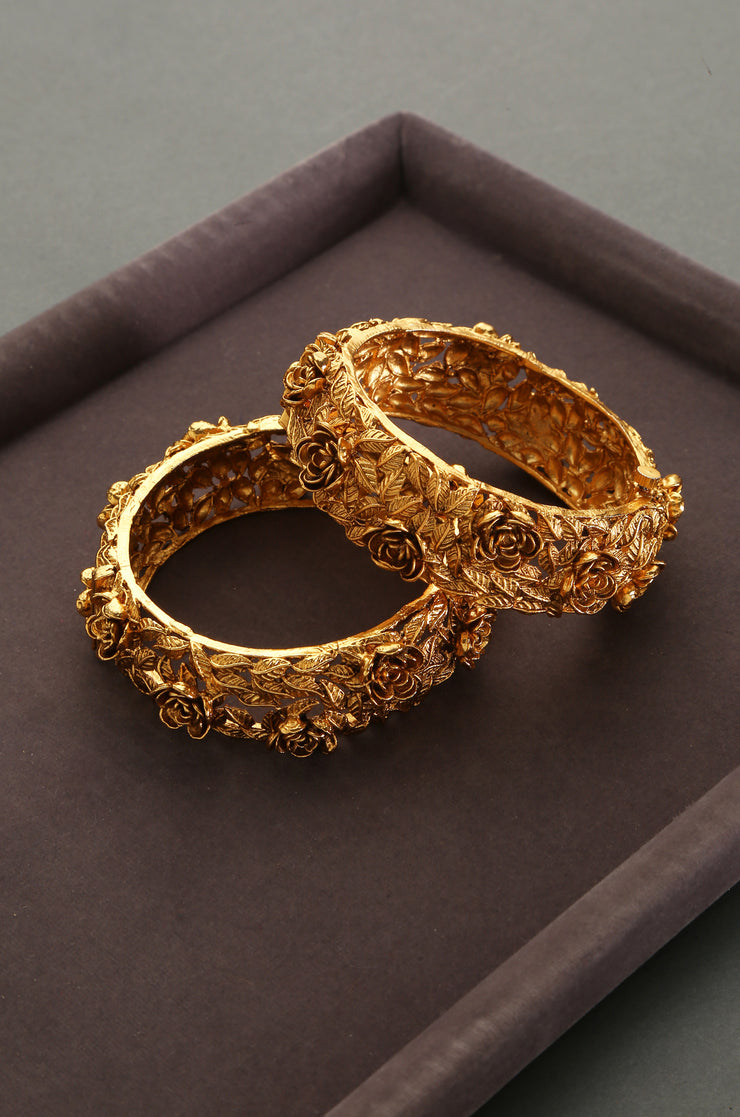 Pujita Temple Work Floral Embossed Bangles - Set of 2