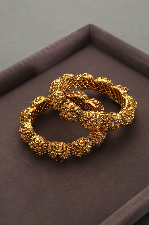 Latika Gold Plated Temple Work Bangles - Set of 2