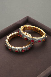 Dhriti Ruby Red Victorian Polki Bangles - Set of 2
