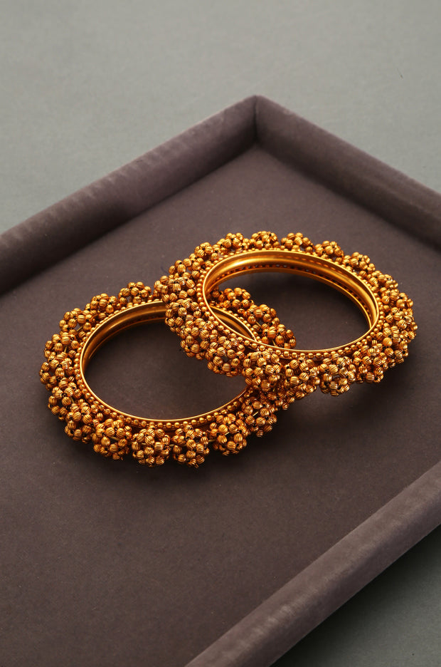 Ginisha Temple Work Floral Emboss Bangles - Set of 2