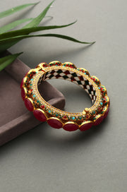Gunjan Gold Plated Jadau Ruby Red Pacheli Bangles - Set of 2