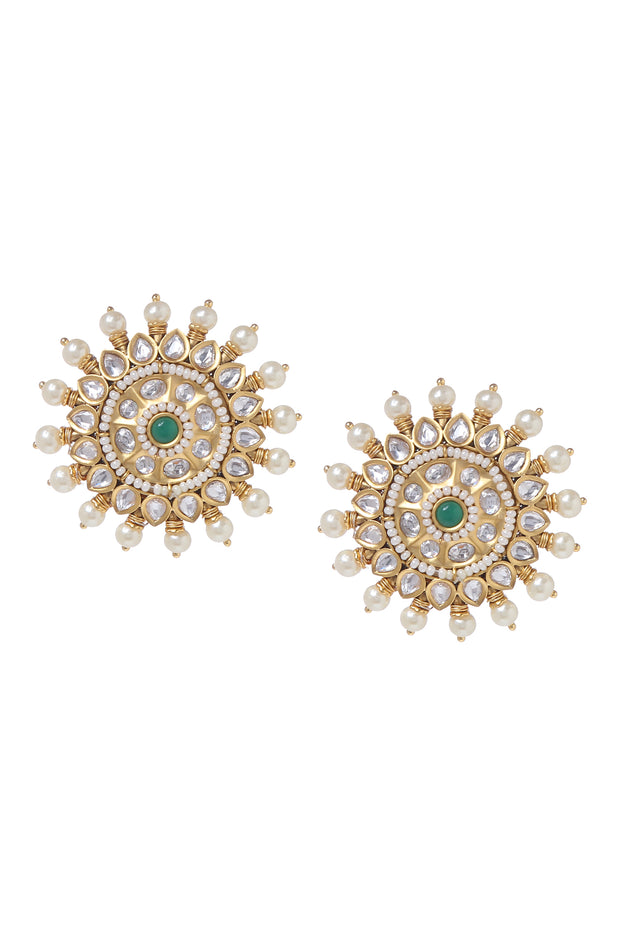 Himali Gold Tone Kundan Stud Earrings With Pearls