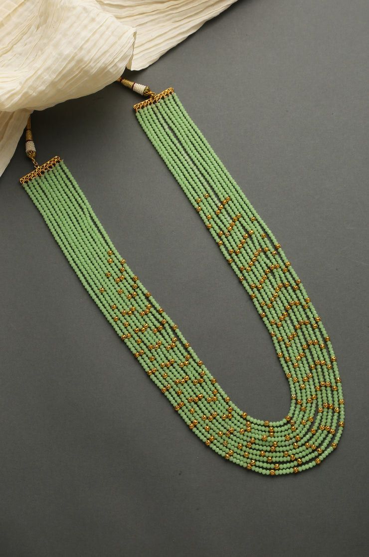 Aradhya Green Gold Beaded Handcrafted Necklace