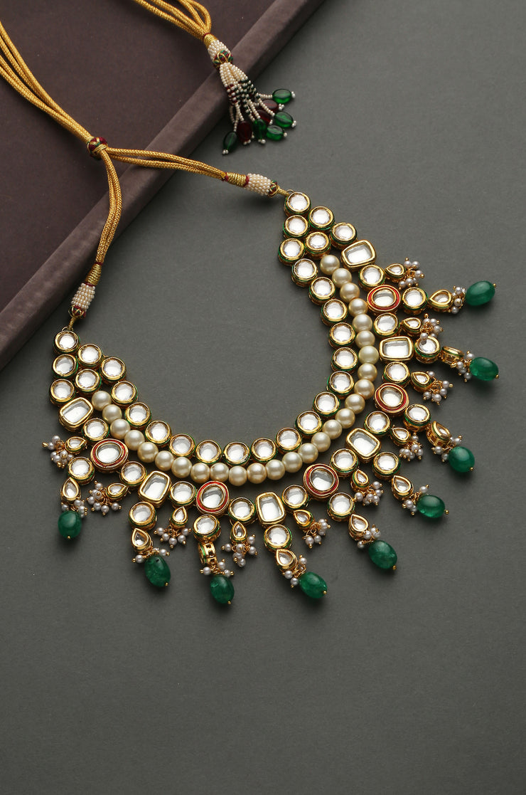 Risha Green Gold Plated Kundan Necklace With Pearls