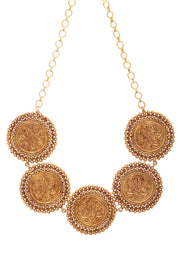 Shaweta Gold Plated Temple Work Choker Necklace Set