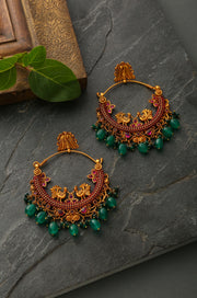 Madhul Pink & Green Gold Plated Temple Work Chandballi