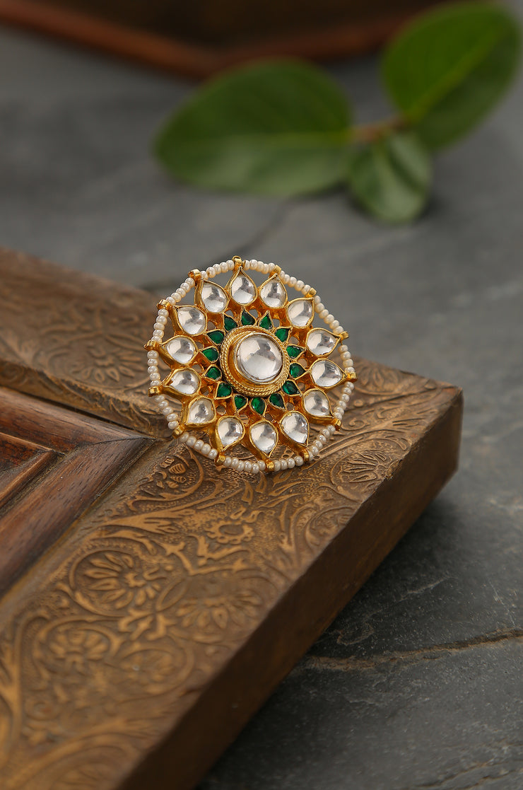 Abjini Polki and Pearls Ring