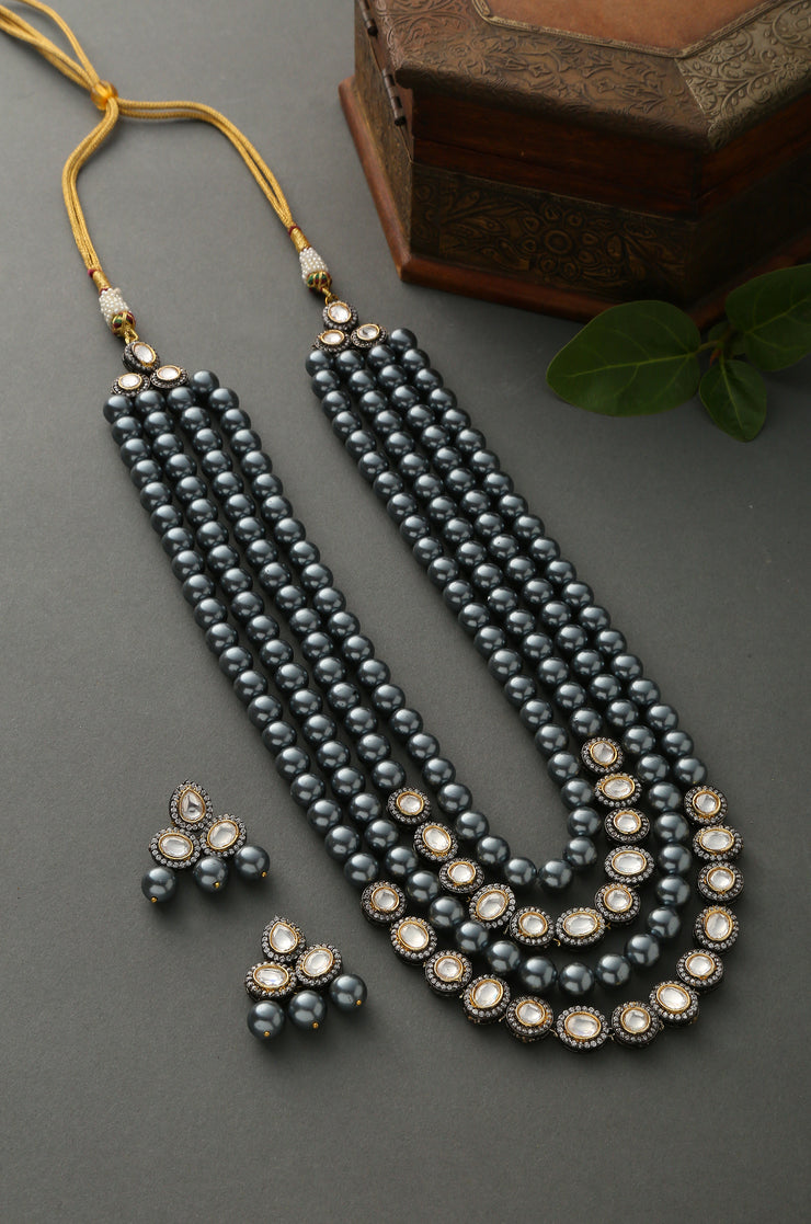 Chandni Silver Faux Polki With Shell Pearls Necklace Set