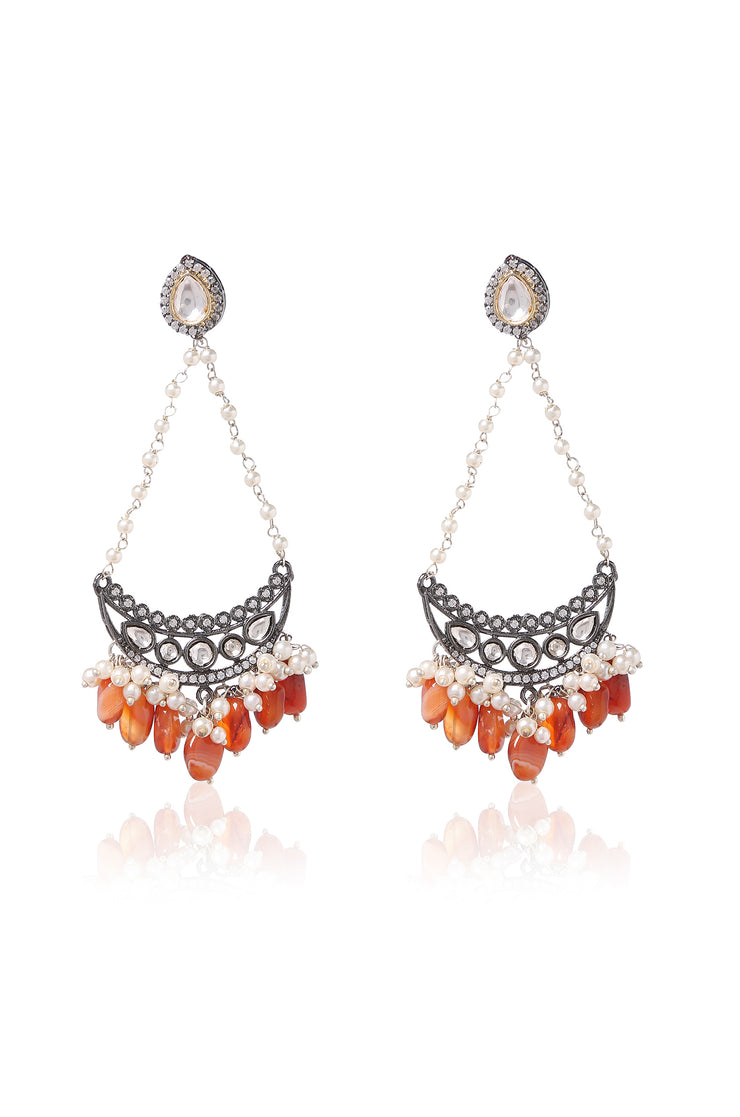 Omisha Orange Silver Plated Faux Diamond Earrings