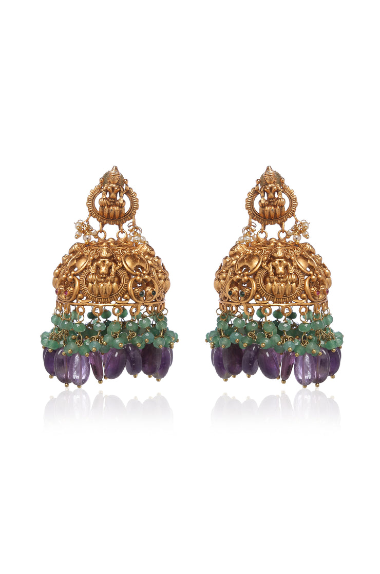 Aamodhini Gold Plated Temple Work Earrings