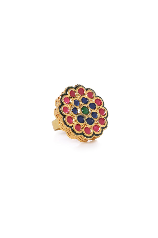 Maitryi Red-Blue Gold Plated Polki Ring