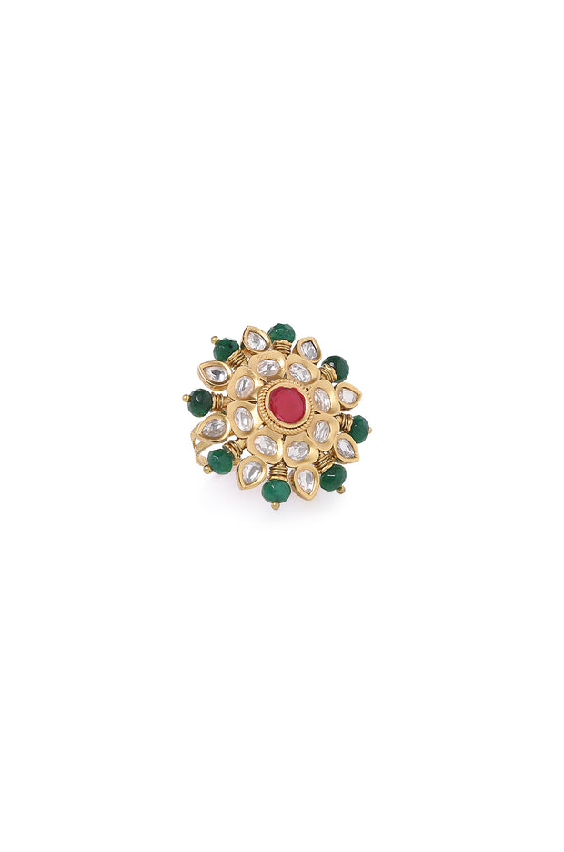Raginee Red-Green Gold Plated Kundan Ring