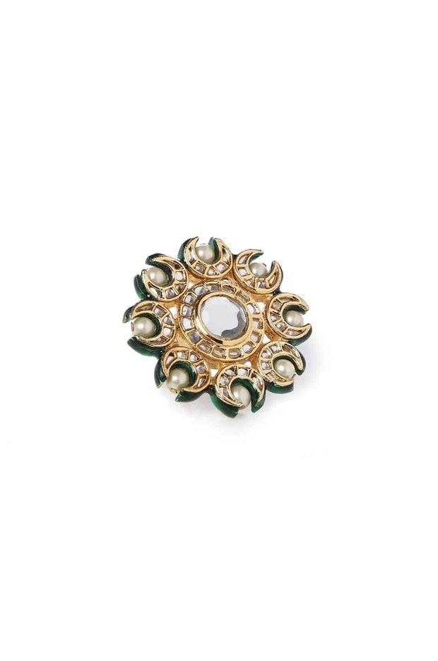 Agriya Polki and Pearls Floral Ring