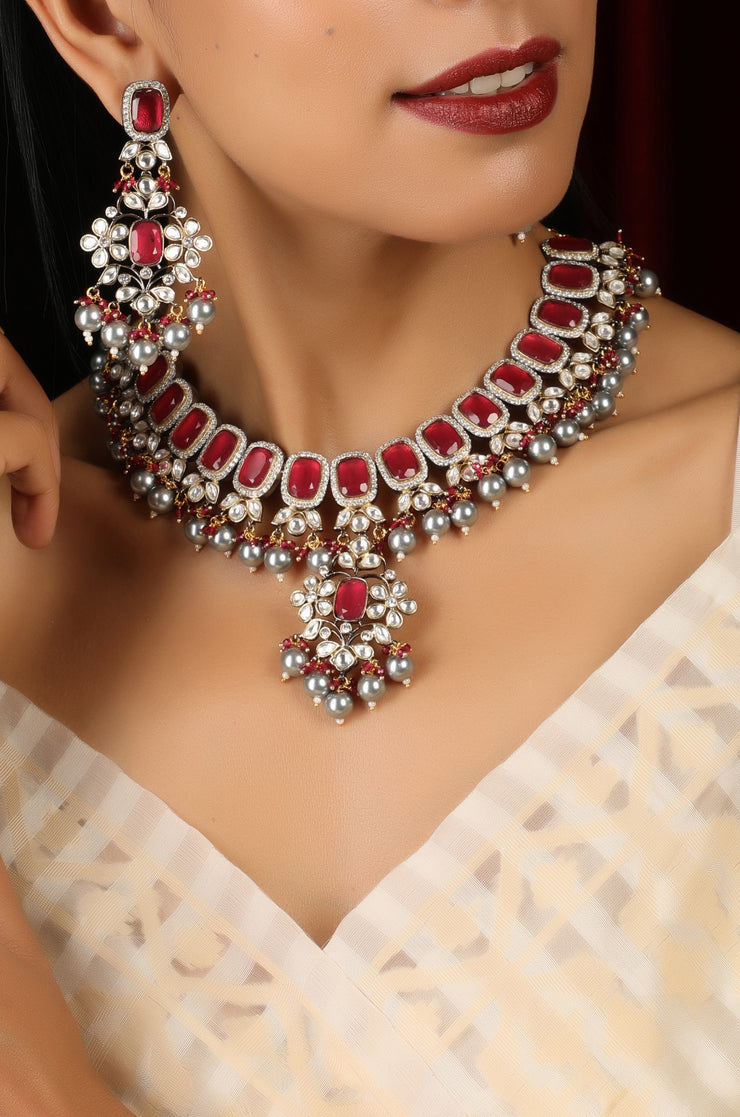 Rubina Red Gold Plated Two Tone Necklace Set