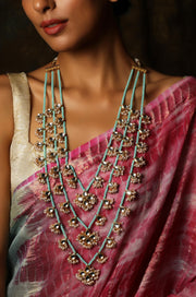 Jyanti Turquoise Gold Tone Kundan Pearls Necklace