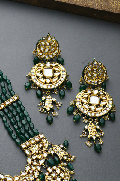 Gold Plated Green Stones Chandbali Earrings