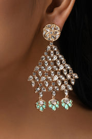 Aridhiya Kundan and Meenakari Earrings